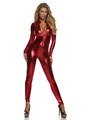 Shiny Red Low  Cut Metallic Jumpsuit Halloween Costume Cosplay 4292