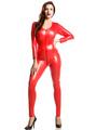 Red Zentai Shiny Metallic Jumpsuit for Women Halloween Costume Cosplay 4292
