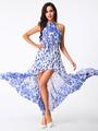 Two-Tone Maxi Dress Halter Print Split Chiffon Dress 4292