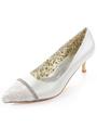 White Bridal Pumps Rhinestone Pointed Toe Satin Wedding Heels 4292