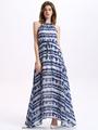 Halter Split Maxi Dress Print Stripes Chiffon Dress 4292