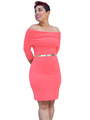 Rose Red Off-The-Shoulder Dress Sash Polyester Mini Bodycon Dress 4292
