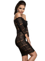 Black Off-The-Shoulder Bodycon Dress Lace Cut Out Sexy Dress 4292
