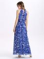 Halter Cut Out Maxi Dress Blue Print Chiffon Dress 4292