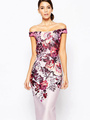 Print Bodycon Dress Multicolor Off-The-Shoulder Spandex Dress 4292