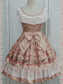 Print Lolita Dress Multicolor Bow Lace Synthetic Dress 4292