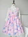 Print Lolita Dress Pink Bow Synthetic Dress 4292