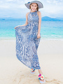 Blue Halter Maxi Dress Chic Chiffon Dress 4292