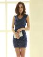 Blue Polka Dot Bodycon Dress Off-The-Shoulder Spandex Dress 4292