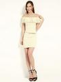 Apricot Off-The-Shoulder Bodycon Dress Sash Spandex Dress 4292