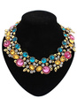 Multicolor Statement Necklace Flowers Rhinestone Metal Necklace for Women 4292