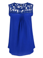Blue Cut Out Camis Lace Chiffon Top for Women 4292