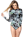 Black Zipper Long Sleeve Wireless Plant Print One Piece Swimsuit 4292