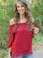 Red Half Sleeves Off-the-Shoulder Blouse 4292