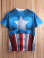 Halloween Captain American Print Short Sleeves Cotton T-Shirt 4292