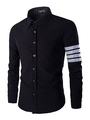 Men's Long Sleeves Casual Shirt In Black White Stripes 4292