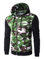 Men's Hooded Jacket Zip Up Hoodie Camo Green Contrast Long Sleeves 4292