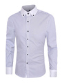 Casual Striped Shirt Men's Long Sleeves Purple/Black/Blue Button Down Collar 4292