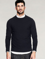 Black Pullover Sweater Men's Long Sleeve Crew Neck Striped Casual Knitwear 4292