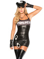 Sexy Cop Costume Halloween Black Halter Strappy Bodycon Mini Dress Police Women Costume Outfit Halloween 4292