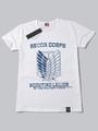 Attack On Titan Shingeki No Kyojin Survey Corps White Short Sleeve Cotton T-shirt Halloween 4292