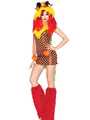 Sexy Animal Costume Halloween Women's Red Faux Fur Color Block Jumpsuit With Shoes And Hat Halloween 4292