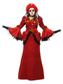 Scary Halloween Costume Red Cosplay Color Block Long Dresses With Headpieces For Women Halloween 4292
