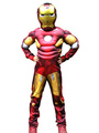 Kids's Halloween Costume Red Iron Man Cosplay Color Block Roman Knit Jumpsuit With Mask For Boys Halloween 4292