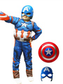 Halloween Kids's Costume Blue Captain America Cosplay Color Block Roman Knit Jumpsuit With Mask For Boys Halloween 4292