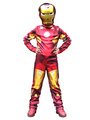 Halloween Kids's Costume Boys Red Iron Man Cosplay Roman Knit Jumpsuit With Mask 4292