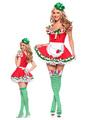 Beer Girl Costume Oktoberfest Halloween Red Women's Color Block Ruffled Lace Dress With Headpieces Halloween 4292