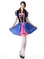 Beer Girl Costume Oktoberfest Halloween Royal Blue Women's Color Block Dress Halloween 4292