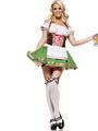 Beer Girl Costume Oktoberfest Halloween Women's Avocado Green Dress Halloween 4292