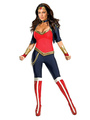 Women's Halloween Costume Red Wonder Woman Lycra Spandex Color Block Jumpsuit With Choker And Headpieces Halloween 4292