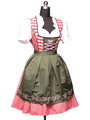 Beer Girl Costume Oktoberfest Halloween Red Women's Color Block Ruffled Dress With Apron Halloween 4292