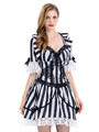 Women's Halloween Costume Black Vampire Striped Mini Dress 4292