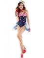 Sexy Sailor Costume Women's Navy Halloween Color Block Jumpsuit With Hat 4292