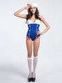 Women's Sexy Costume Navy Sailor Color Block Halloween Jumpsuit With Hat 4292