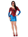 Halloween Spiderman Costume Ruby Printed Bodycon Dress With Eye Patch For Women 4292