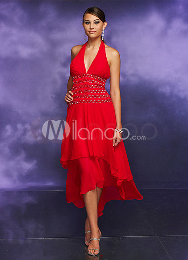 Red A-line V-Neck Halter Satin Chiffon Long in Back Short in Front Prom Dress