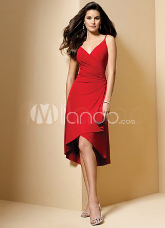 Fashion V-Neck Knee-Length Satin Long in Back Short in Front Evening Dress/Homecoming Dress
