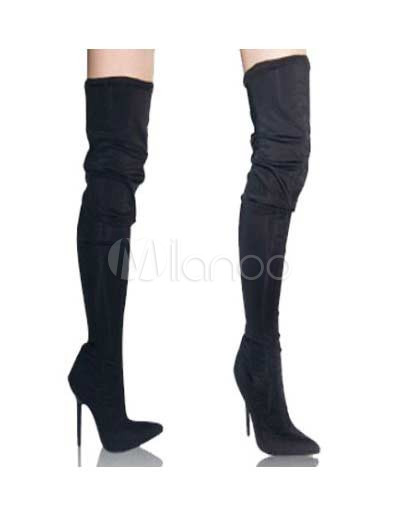 4 3/4&39&39 High Heel Ultra Suede Thigh High Boots - Milanoo.com