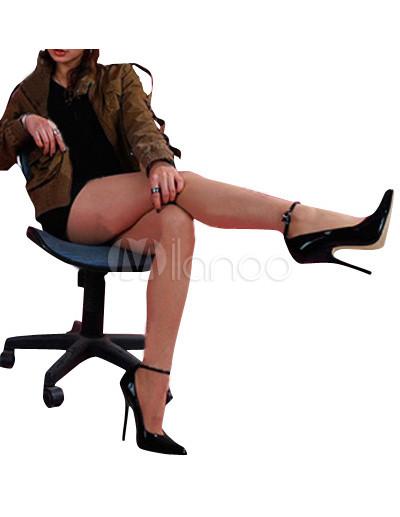 High Heel Black Patent Ankle Strap Pump Shoes - Milanoo.com