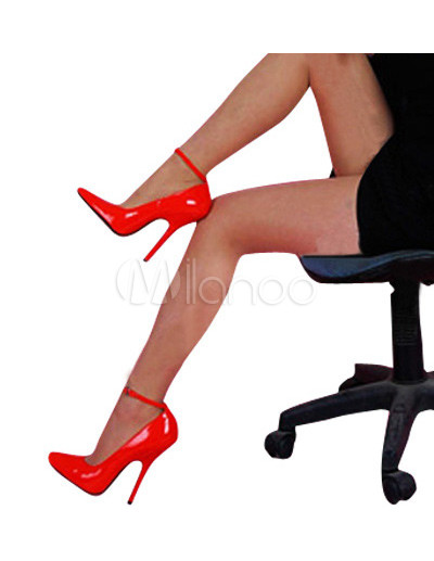 High Heel Red Patent Ankle Strap Pump Shoes - Milanoo.com