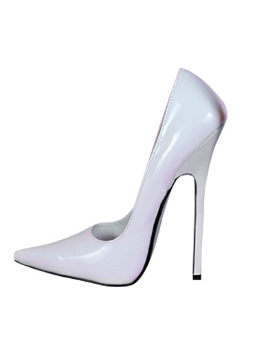 High Heel White Patent Pump Shoes