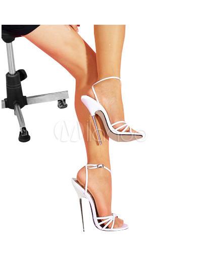 6 1/4'' High Heel White Patent Ankle Straped Sandal - Milanoo.com