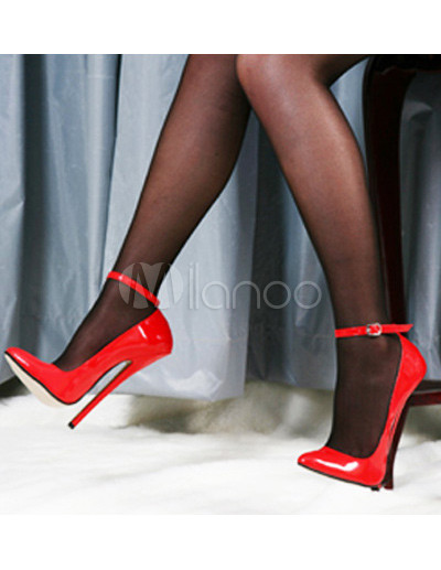 7&39&39 High Heel Red Ankle Strap Pump Shoes - Milanoo.com