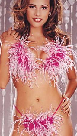 Marabou Bikini Intimate Lingerie Bra And Panty Set