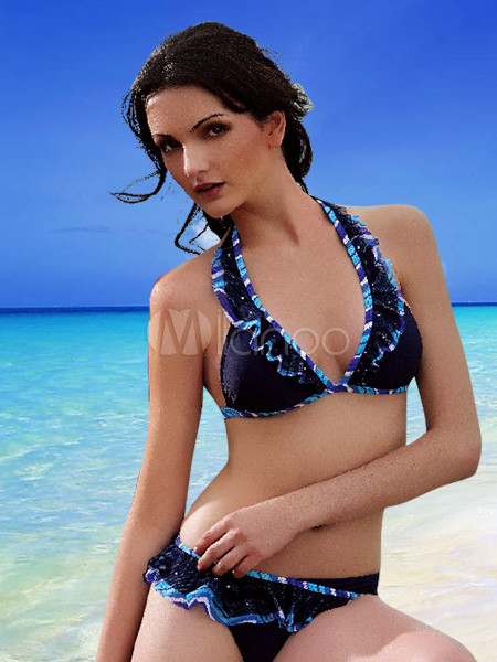 dark blue r schen bikini zweiteiler badeanzug. Black Bedroom Furniture Sets. Home Design Ideas