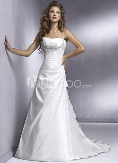 A-line Spaghetti Taffeta Wedding Dress